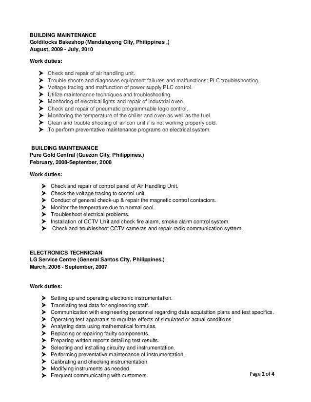 Image result for sample crew resume at goldilocks philippines - electronic resume