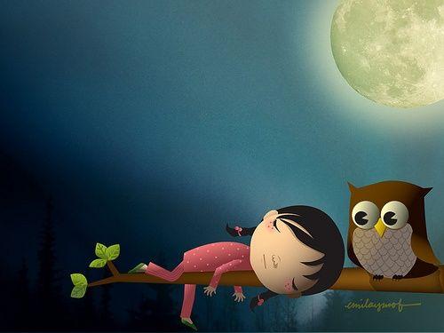 Owl & Girl by Emila