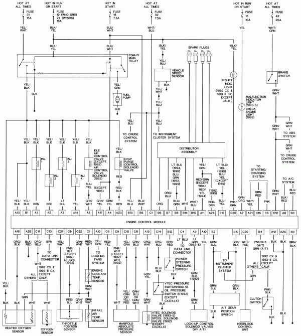 15 95 honda civic engine wiring diagram  engine diagram