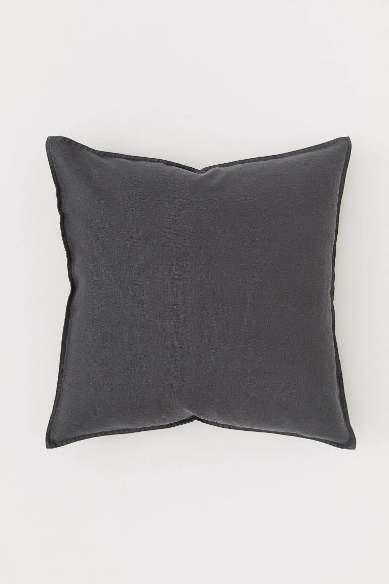 Washed Linen Cushion Cover Charcoal Gray Home All H M Us Linen Cushion Cushions Beige Bed Linen