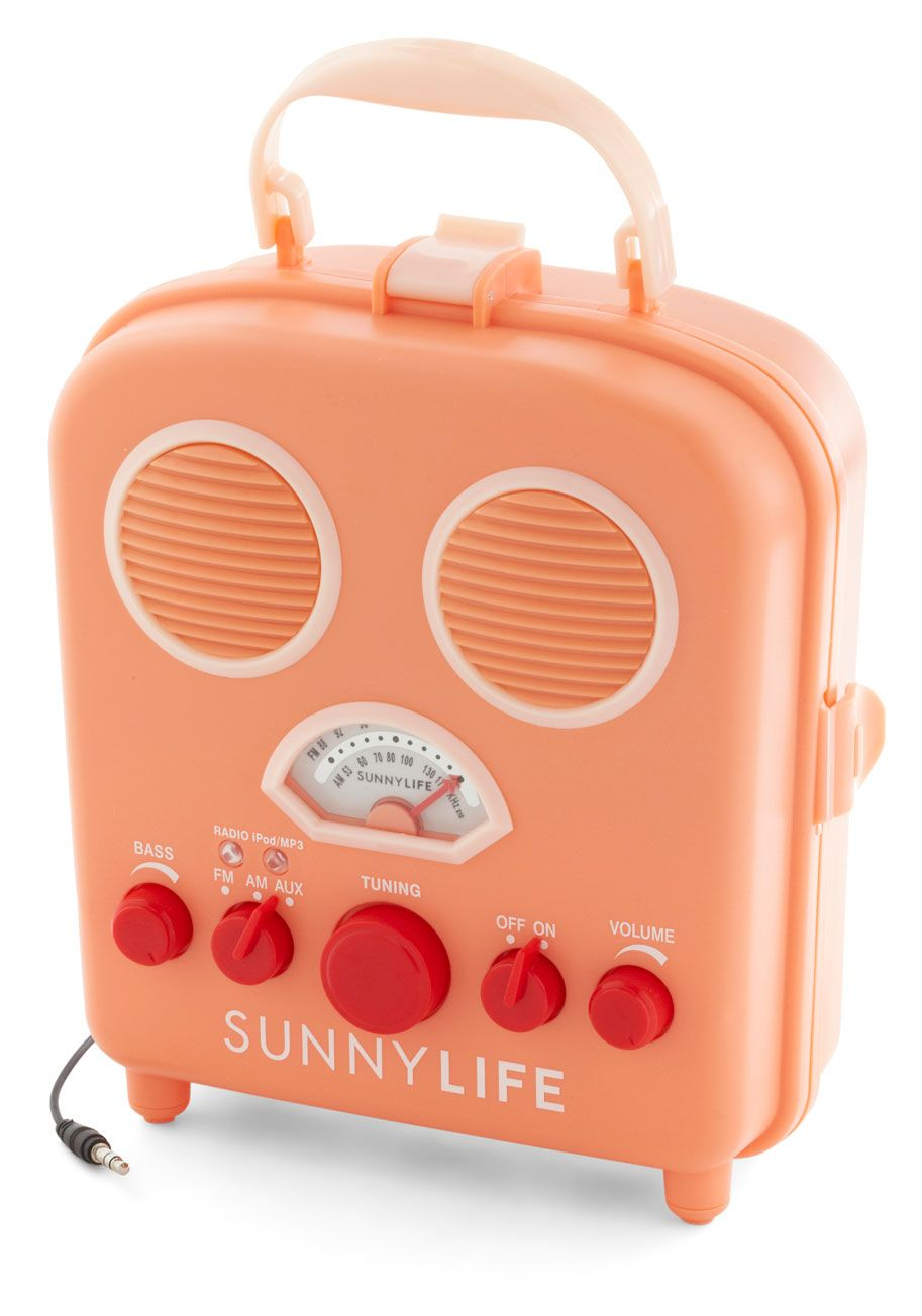 Tunes By The Dunes Radio Treat Everyone Playing Beach Blanket Bingo To A Sunny Soundtrack With This C Pink Portable Orange Modcloth