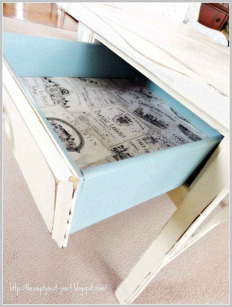 The power of Annie Sloan chalk paint! Love the pop of blue!