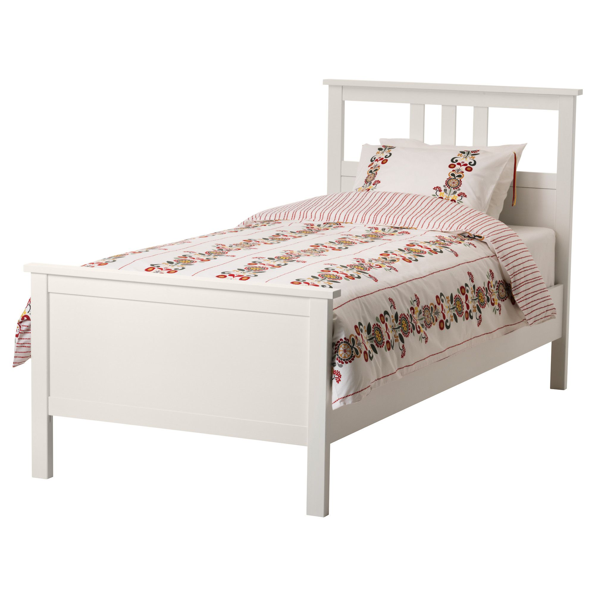 HEMNES Bed frame white stain, Lönset Twin Hemnes bed