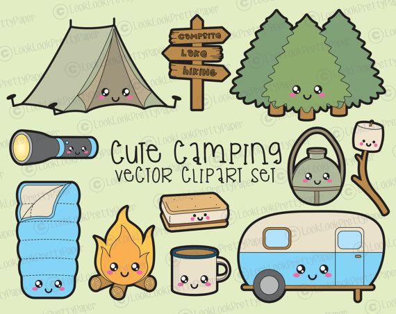 Premium Vector Clipart - Kawaii Camping Clipart - Kawaii Camping ...