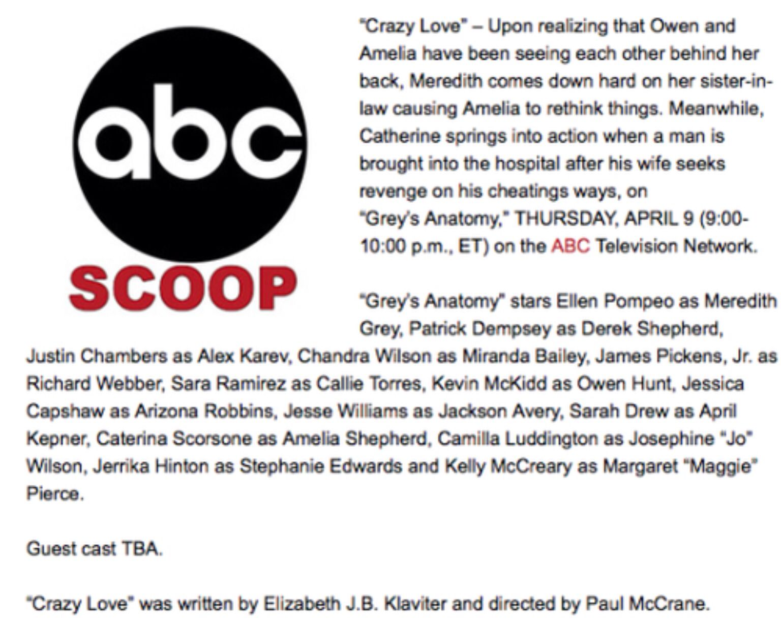 Pin by GreysAnatomy Luver1415 on Grey\'s Anatomy Press Releases 1 ...