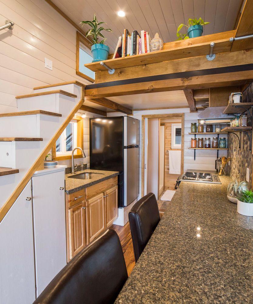 Custom tiny house by big freedom tiny homes dining area bar stool