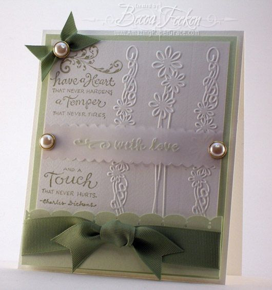 with love  new cuttlebug border  embossed cards becca