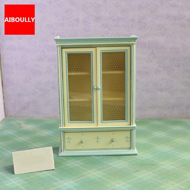 1//12 Dollhouse Furniture Wood Display Cabinet Miniature Model Accessory