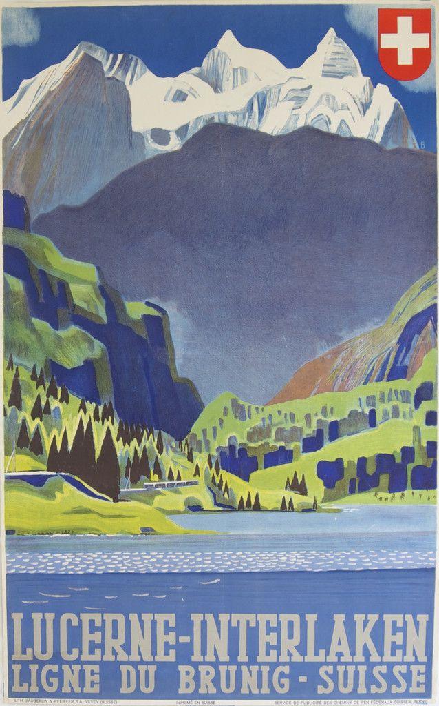POSTER TRAVEL LAKE LUCERNE SWITZERLAND TOURISM BOAT VINTAGE REPRO FREE S//H