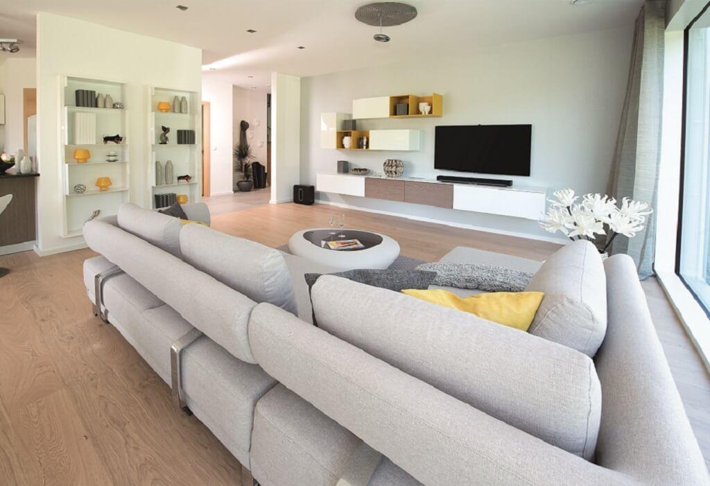 ... Interior Wohnzimmer Modern Mit Ecksofa Und Wohnwand   Wohn Schlafzimmer  Modern ...