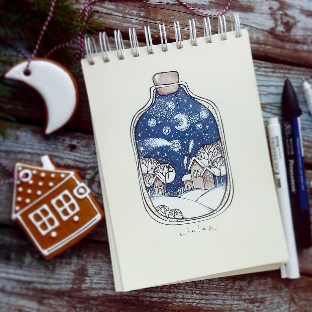 красивые зимние рисунки для скетчбука этого пара
