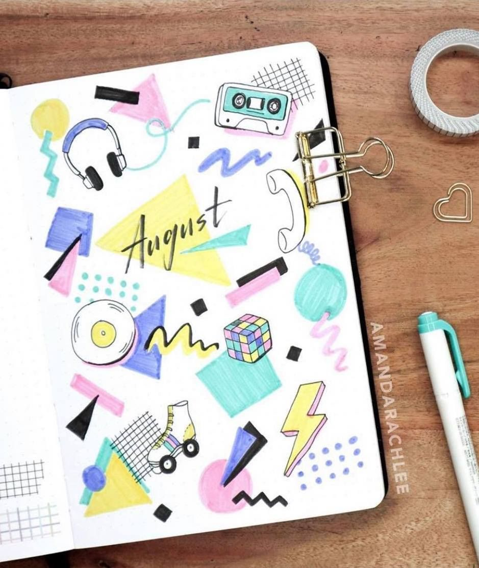 @amandarachlee And Her 80/90s Themed Bullet Journal Cover