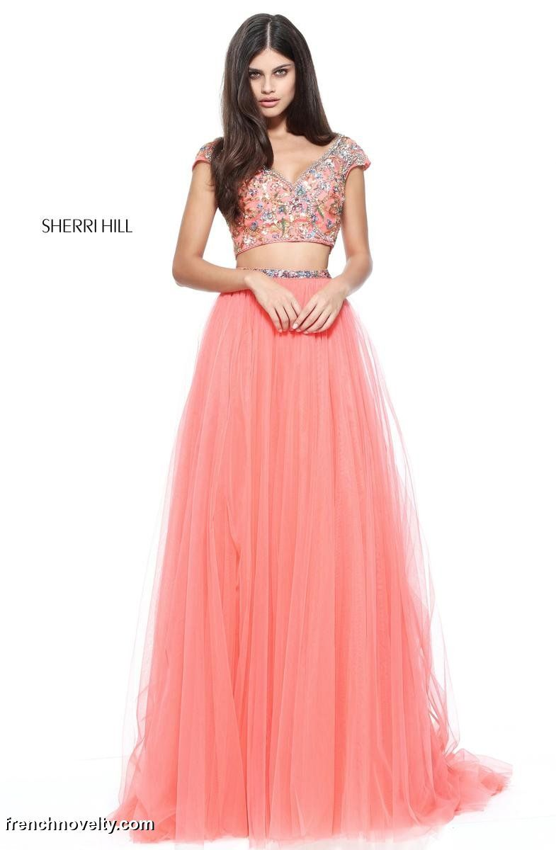 Sherri Hill 51166 is a 2-piece prom dress with a short sleeved ...