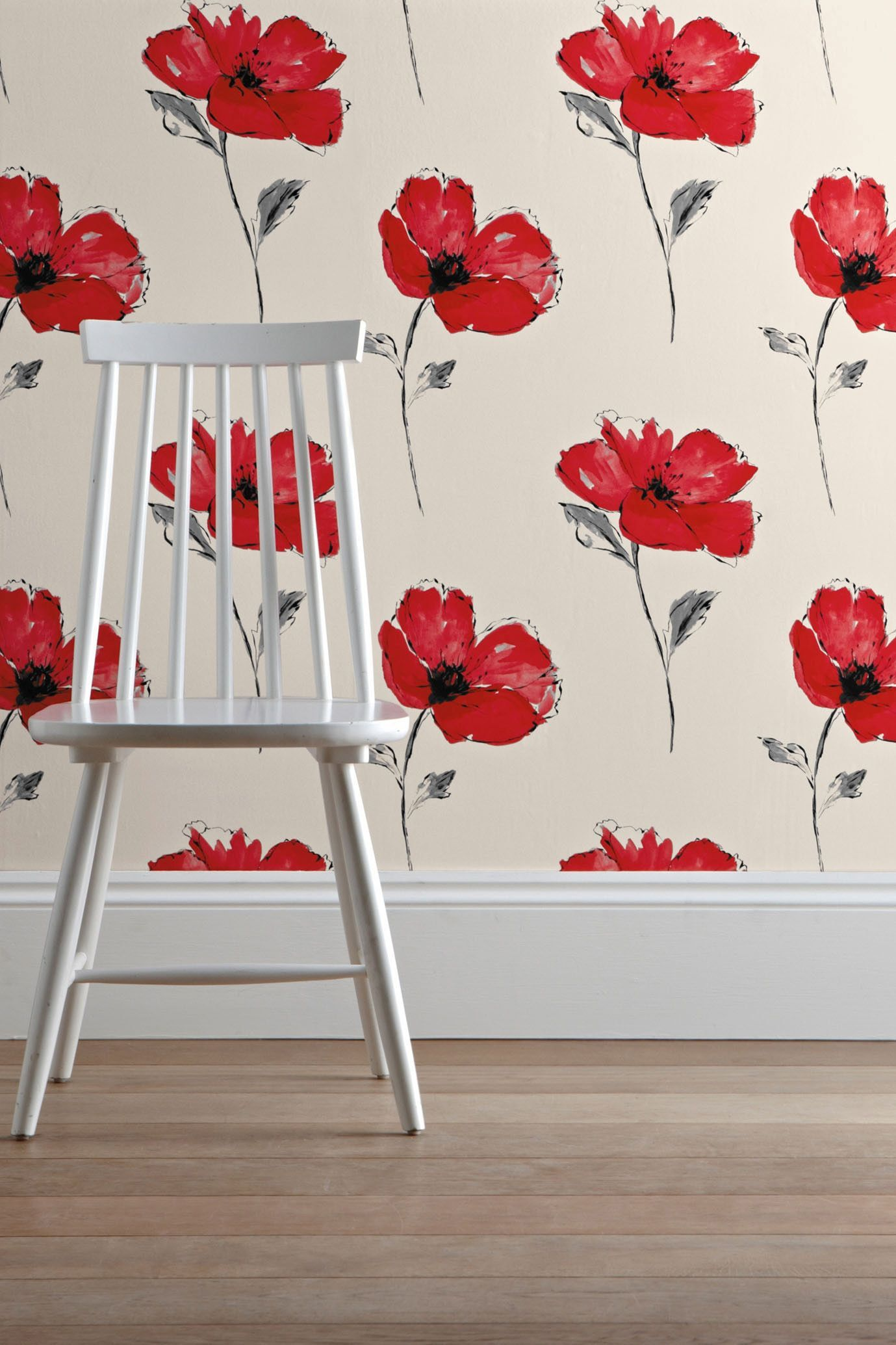 Buy Poppy Print Wallpaper from the Next UK online shop   wallpaper   Pinterest   Poppies ...