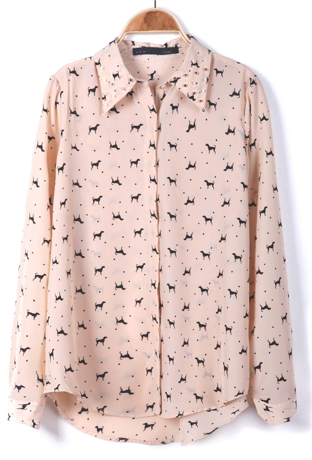 little dogs print chiffon blouse super cute print put it on