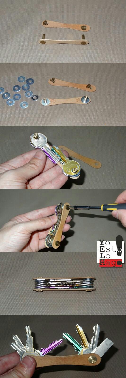 Fabriquer un porte-clés façon couteau suisse. ♠ Sympa l'idée ♠ http://www.yoestolohago.com/2015/11/como-hacer-un-llavero-tipo-navaja-suiza.html?m=1