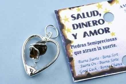 Colgante corazon,plata de ley, y mineral ojo de tigre,para atraer dinero, salud,amor  Tienda online www.treisytarotgratis.com