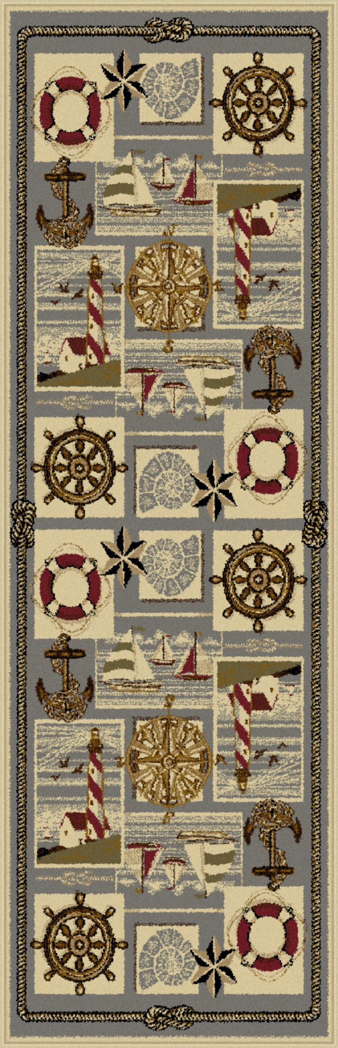 Tayse Rugs Nature Nautical Bliss Novelty Runner - 2'7'' x 7'3'', Beige & Tan