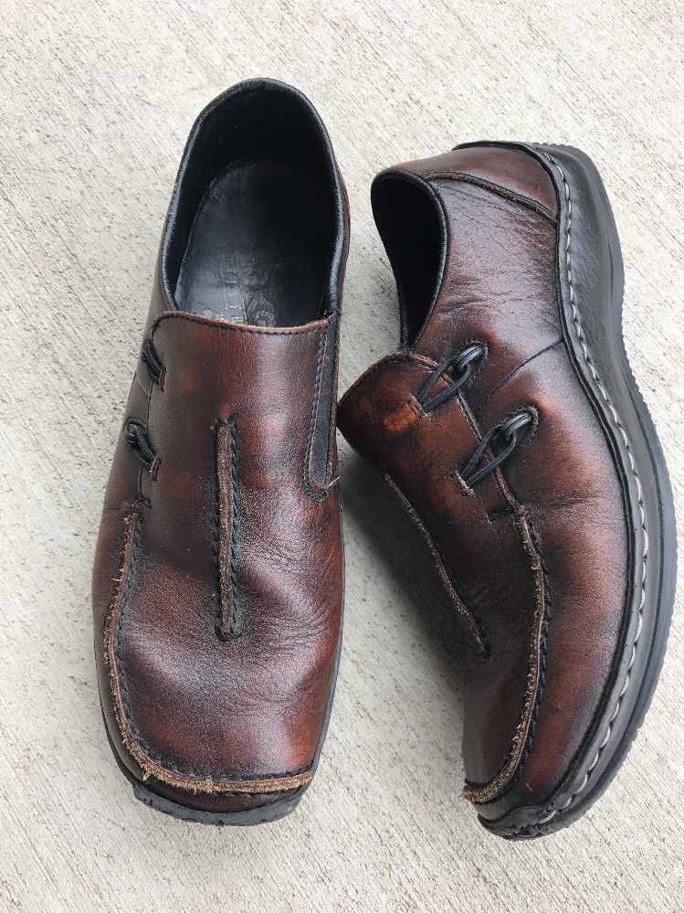RIEKER Antistress Brown Leather Slip On Loafers EUR 38