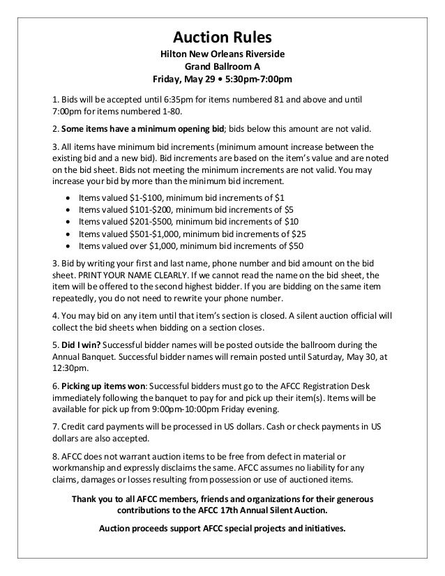 silent auction rules sheet - Google Search Non-Profit⚫ Strategy