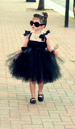Lily's Halloween Costume 2013: Audrey Hepburn (hand sewn by my Mother-in-Law & Sister-in-Law!)