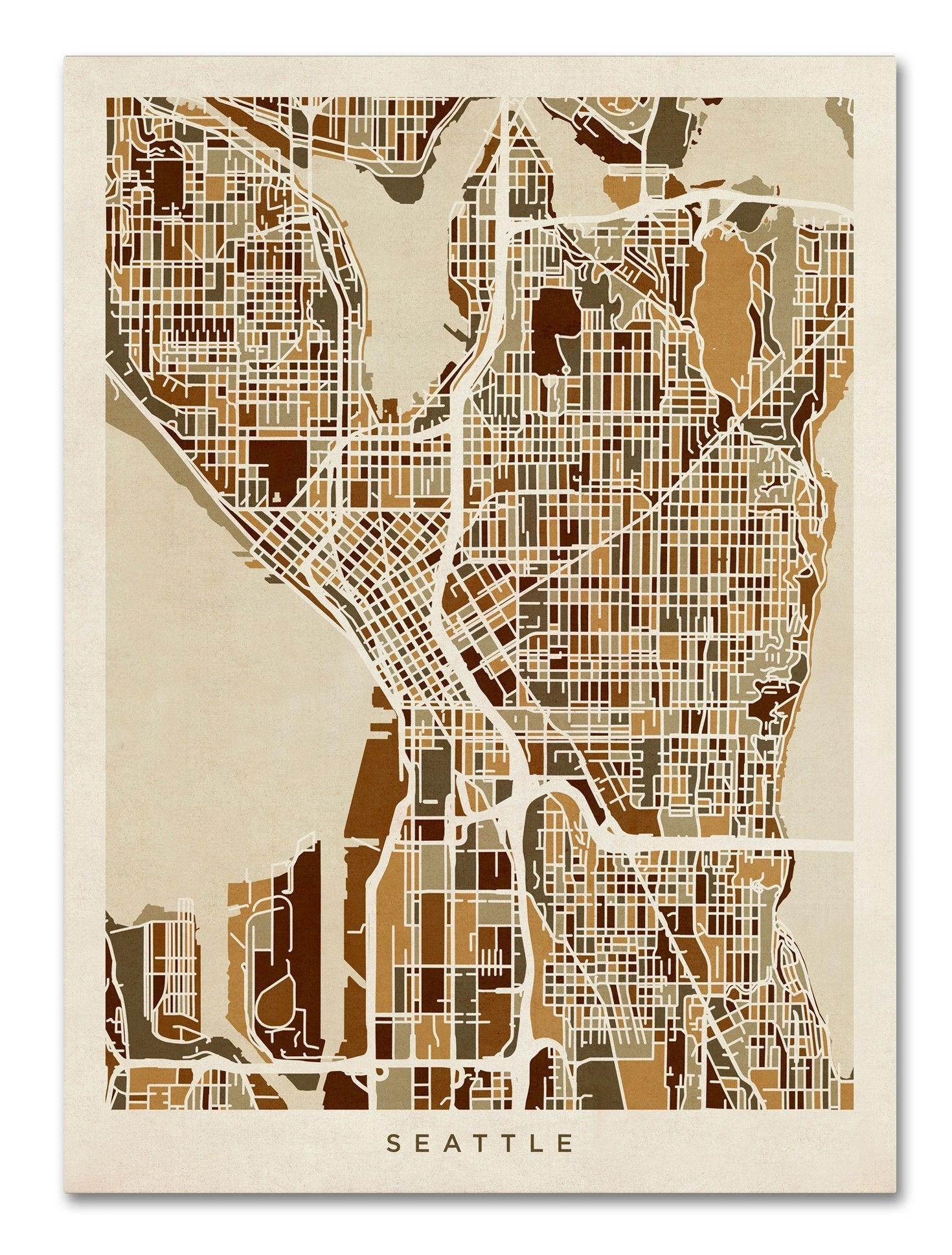 Seattle Washington Street Map Graphic Art On Wrapped Canvas Street Map Art Map Art Print Seattle Map