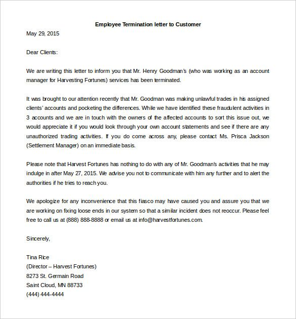Termination Letter Templates Free Sample Example Format Template