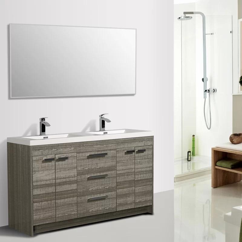Zuzanna 60 Double Bathroom Vanity Set Double Vanity Bathroom Bathroom Vanity Modern Bathroom Cabinets