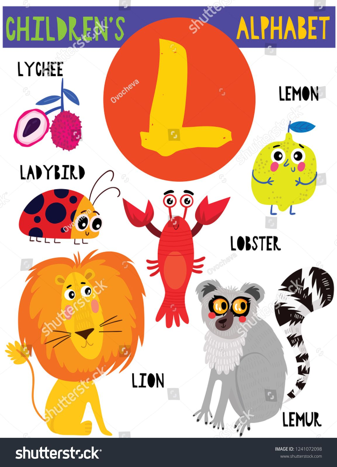 Letter L Cute Children S Alphabet With Adorable Animals And Other