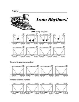 Free worksheet for K/1- train rhythms- quarter and eighth notes ...