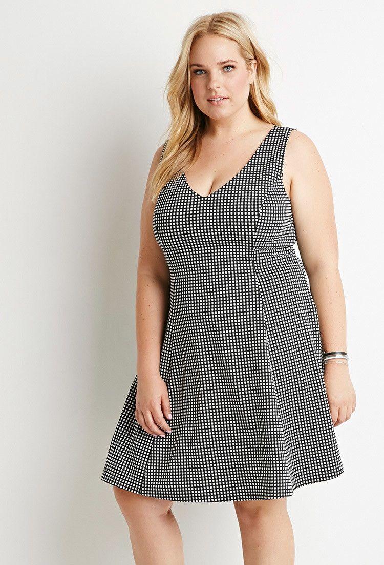 Plus size gridpatterned vneck dress forever plus