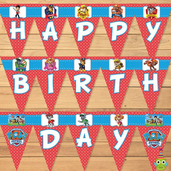 Paw Patrol Birthday Banner Red Happy Sign Favors