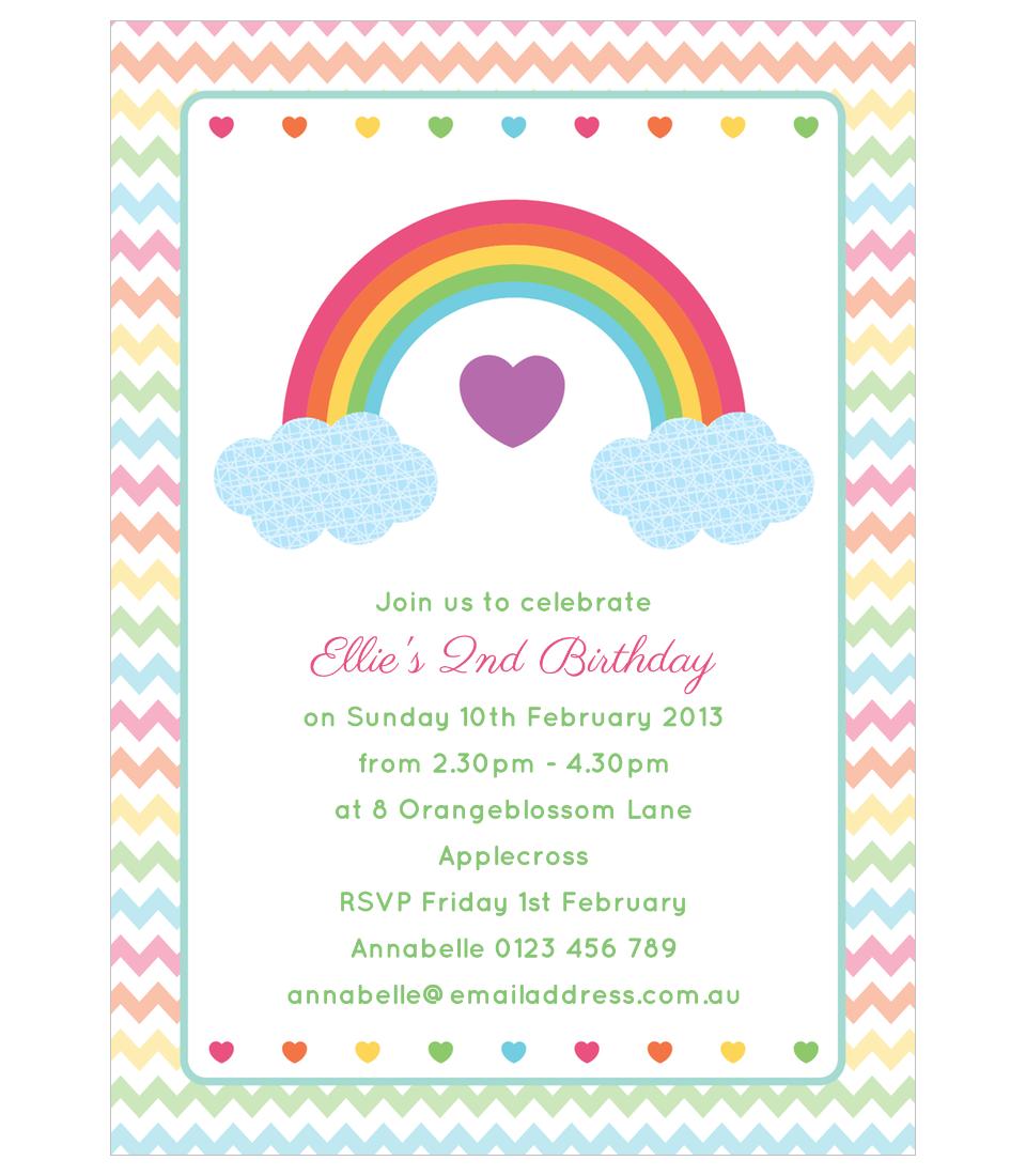 rainbow birthday party invitations printable free - Buscar con ...