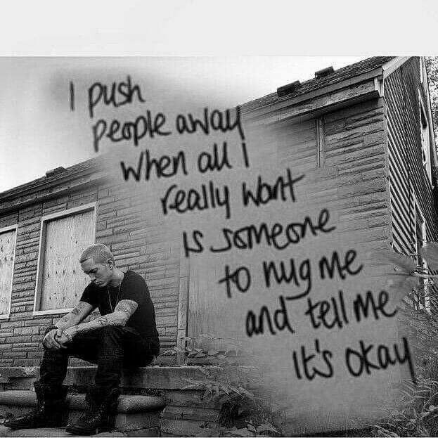 Eminem I Will Hug You But I Feel The Same Way Eminem Quotes Rapper Quotes Eminem Lyrics