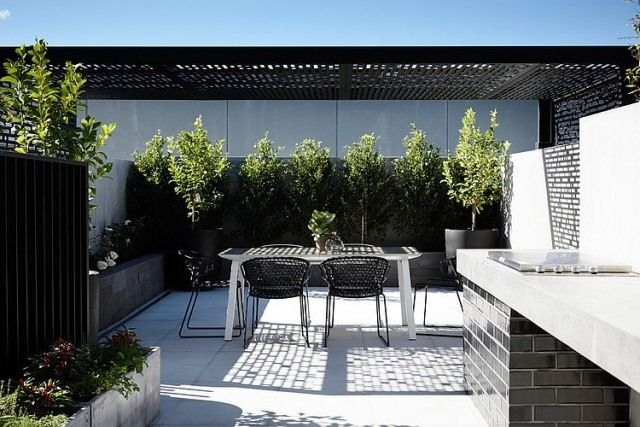 Terrassen Ideen Hinterhof Sichtschutz Bäume Pflanzkübel