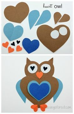 Heart Shaped Owl Craft. Click to find LOTS of creative Heart Shaped Animals ~ simple Valentines Day craft
