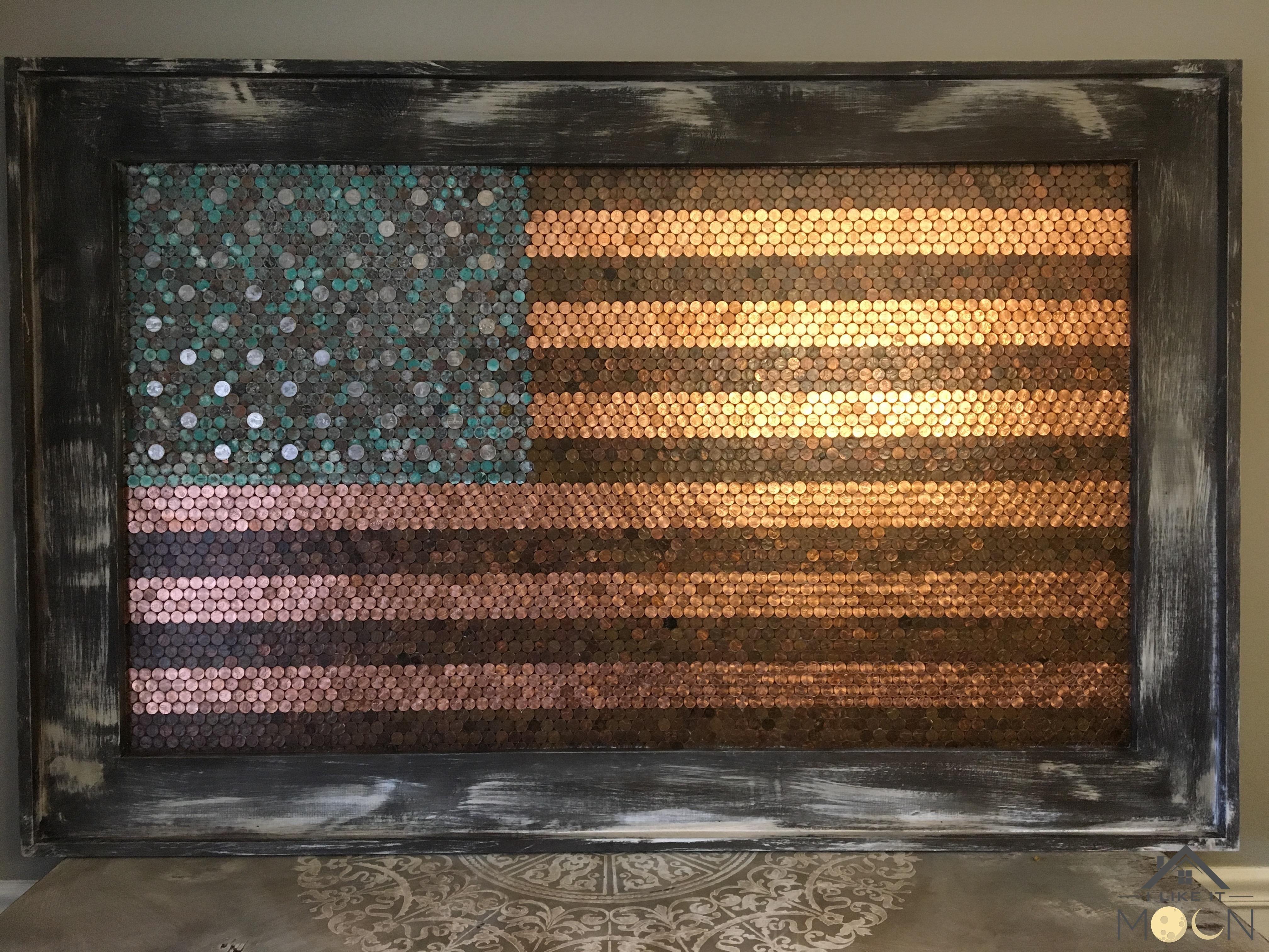 American money copper on wood 3 x 5 american flag diy