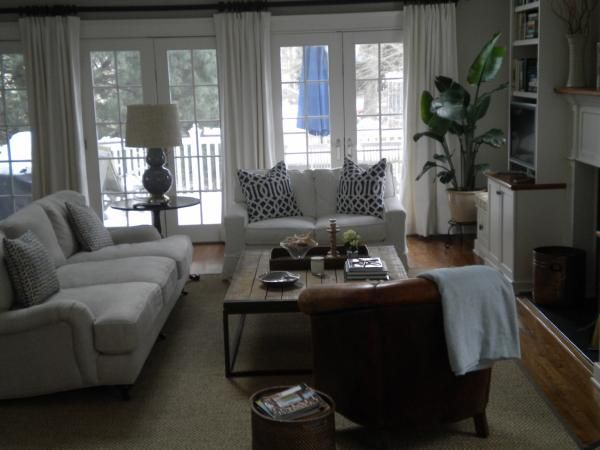 Stephanie Kraus Designs Blue And White Living Room A: Revere Pewter, Neutral Living Room Love Seat, Sofa