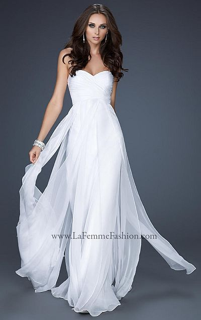 Steal my heart... La Femme <3 White evening gown   Clothes   Pinterest