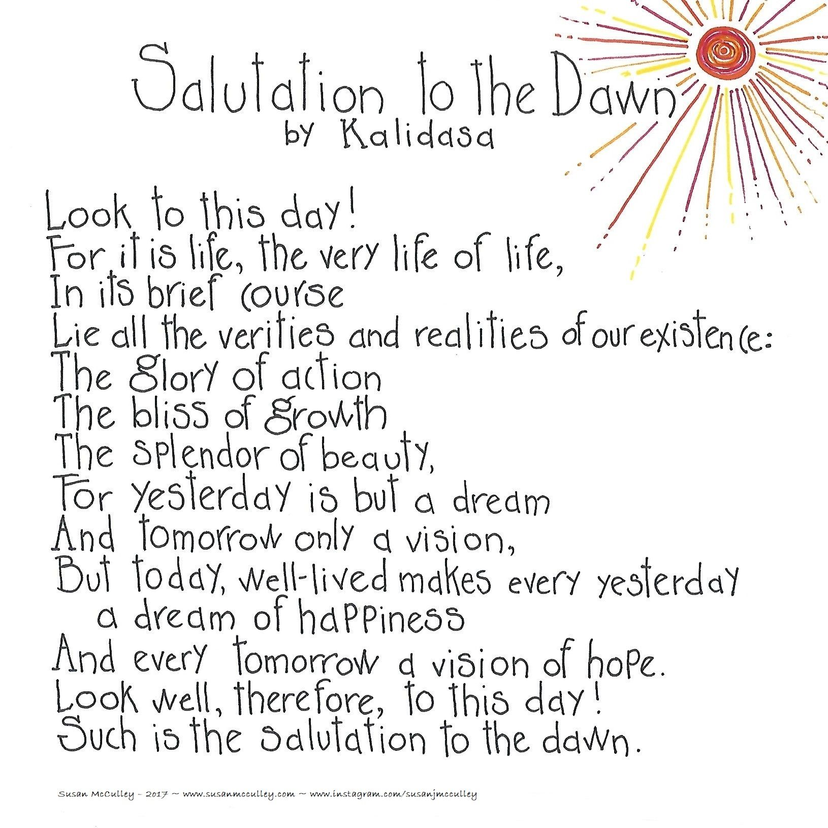 Salutation To The Dawn By Kalidasa Print Susan Mcculley Quote Meaningful Osho Quotes Awake Poem Explanation