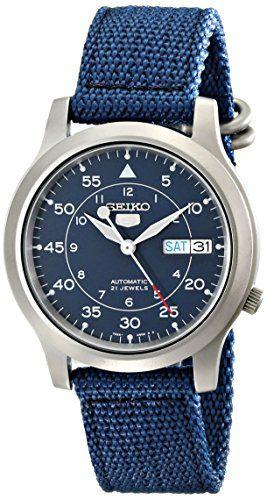 Seiko-Mens-SNK807-Seiko-5-Automatic-Blue-Canvas-Strap-Watch #watchesformen #menswatch #watches #seikowatch