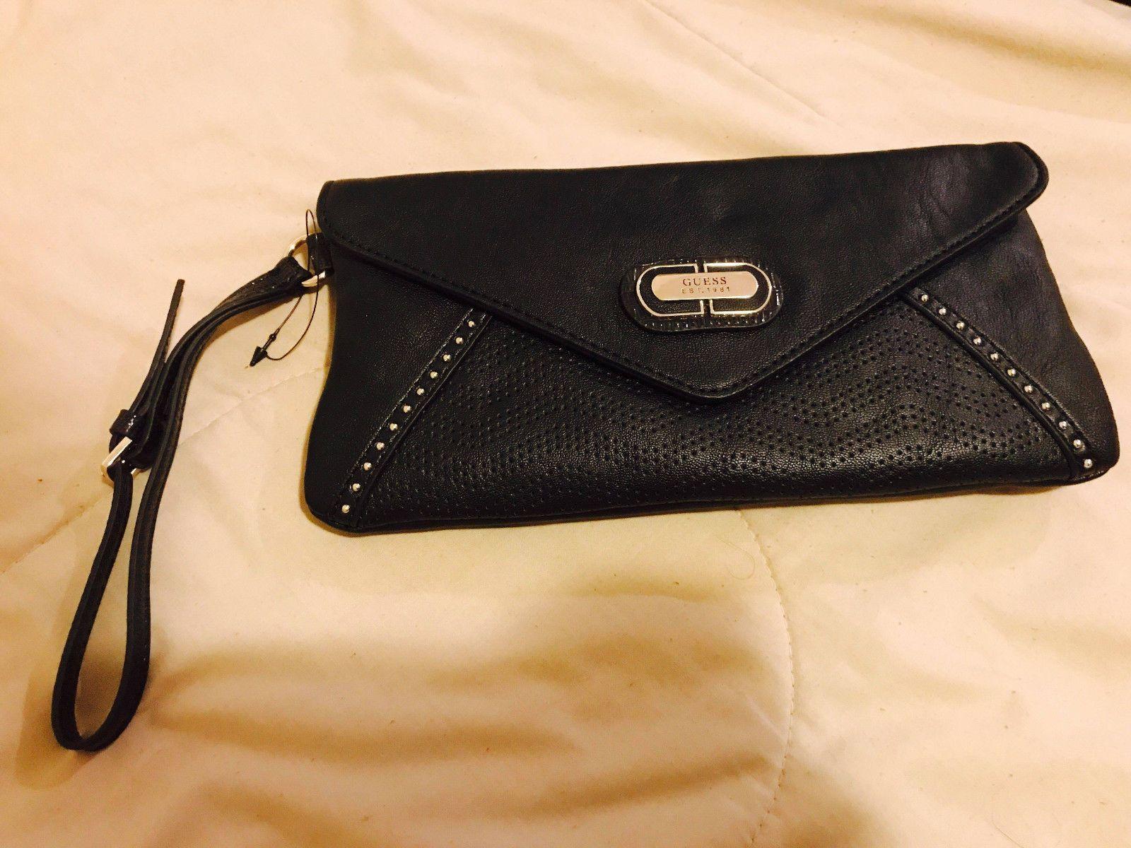 New Guess Black Wristlet Clutch Bag Handbag Plastic Tag Holder No Pap