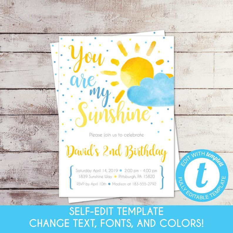 Editable You Are My Sunshine Birthday Invitation Summer Etsy Sunshine Birthday Birthday Invitations First Birthday Party Themes
