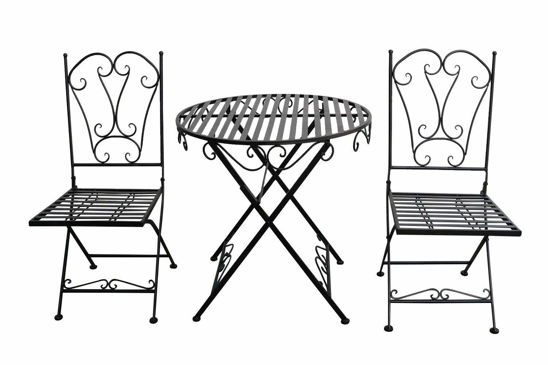 Gartenset Tisch 2 X Stuhl Metall Antik Stil Garten Garn