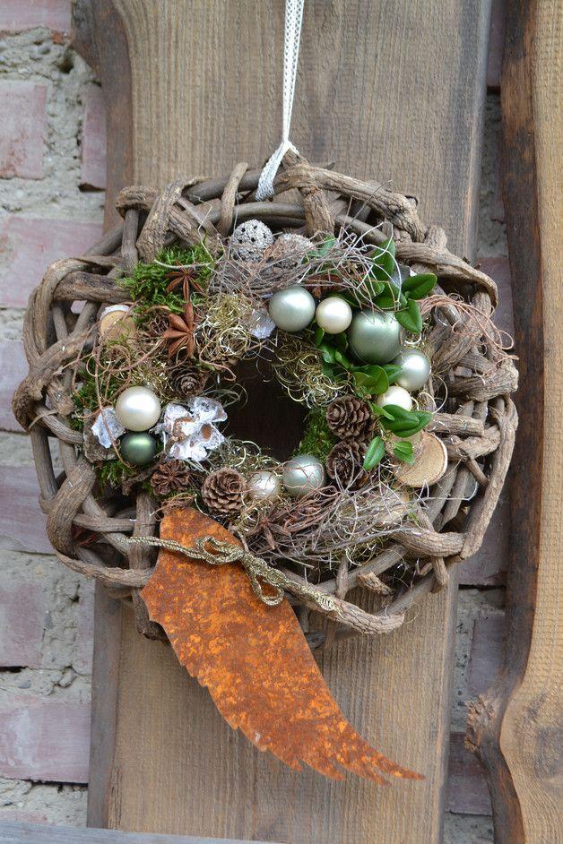 T rkr nze t rkranz engelsfl gel ein designerst ck von blumenallee bei dawanda - Weihnachtliches dekorieren ...