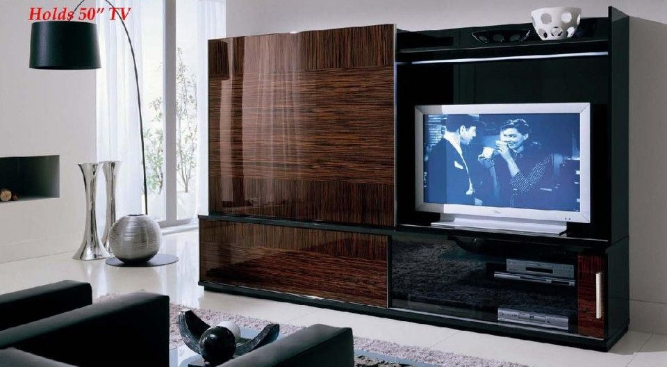 modest entertainment center with wall mounted lcd tv and wooden