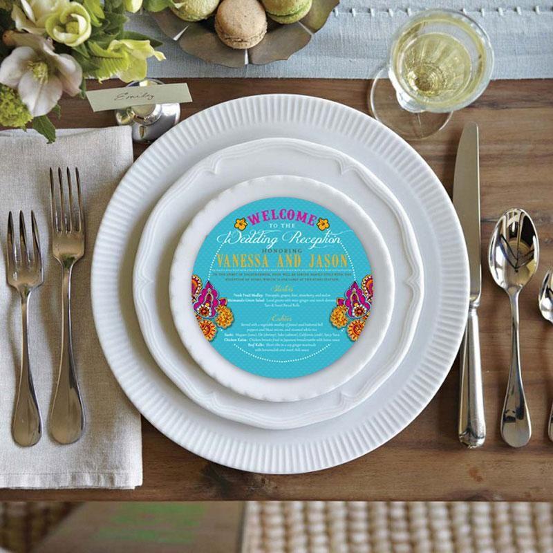 Round Menu Cards weddingmenu Dinnerware, Eclectic