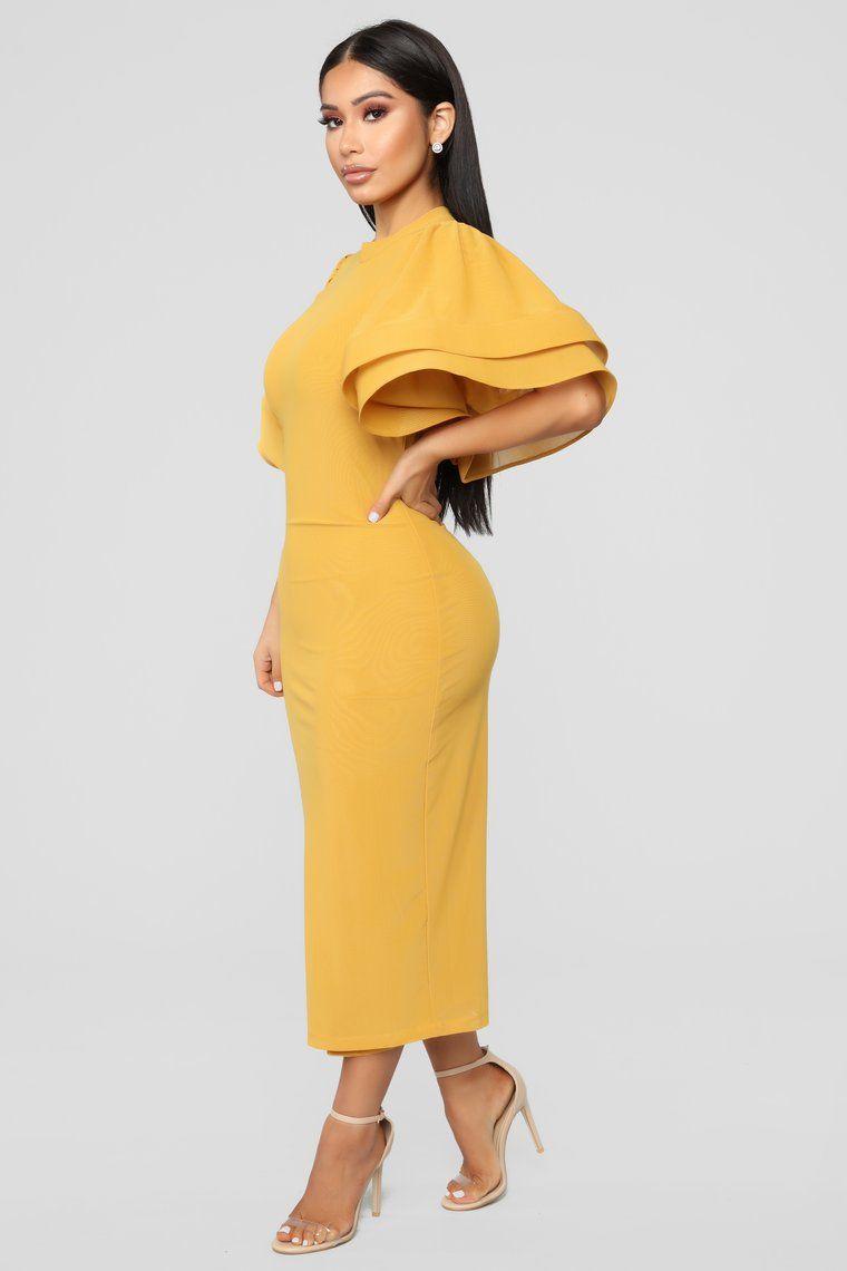 No Drama Ruffle Dress Mustard Mustard Dress Fashion Mustard Dress Outfit Dresses [ 1140 x 760 Pixel ]