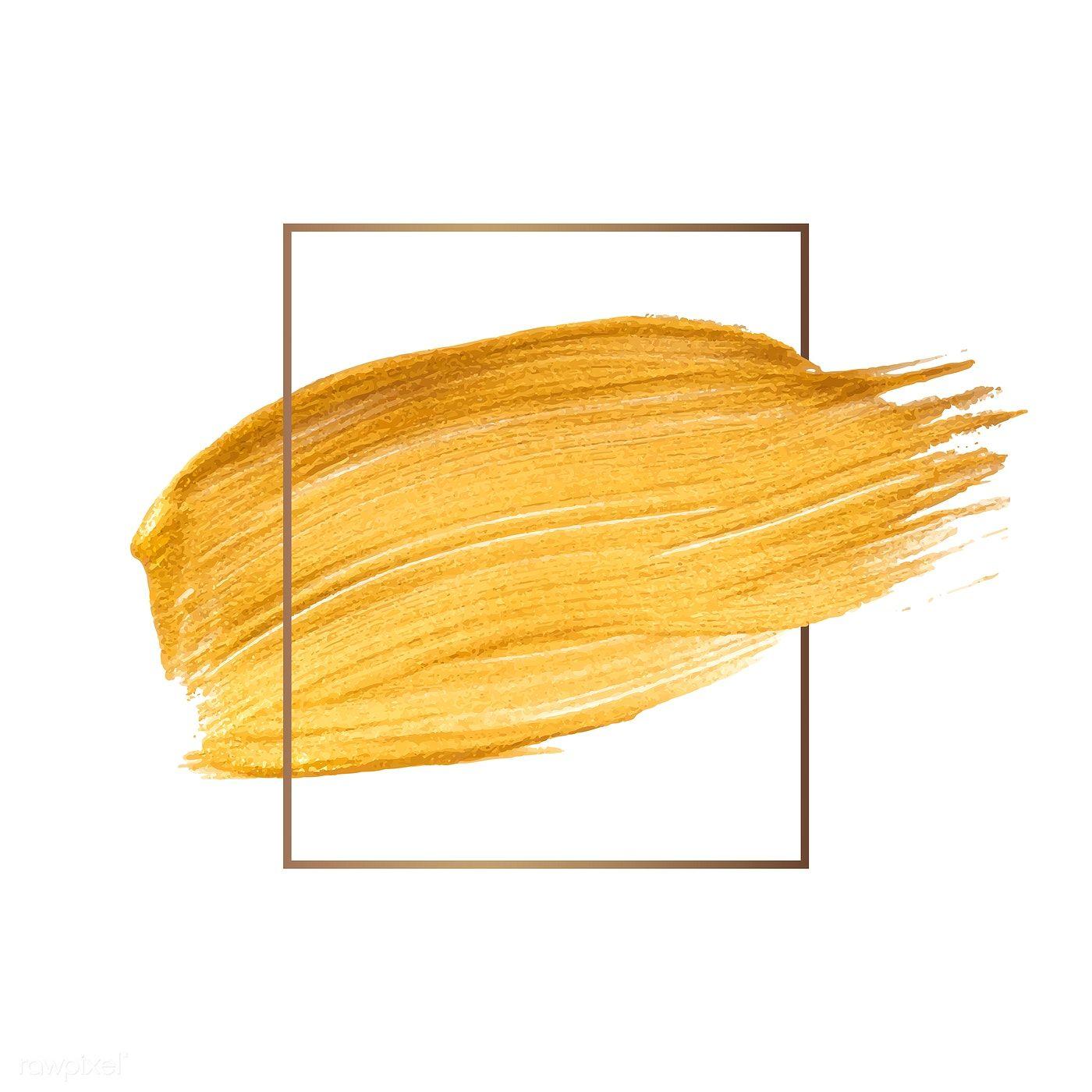 Golden Shimmery Brush Stroke Badge Vector