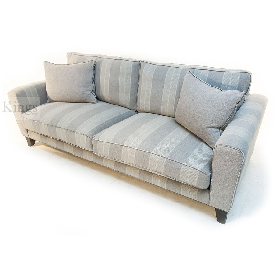 johnsankey #voltaire #sofa grey stripe with velvet piping http://www ...